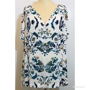 Lucky Brand White Floral Blouse Sz. 1X NWOT